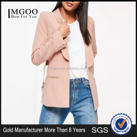 MGOO Foshan Factory Made Custom One Button Women Suits Blazers 2017 Spring Belted Long Sleeves Jackets