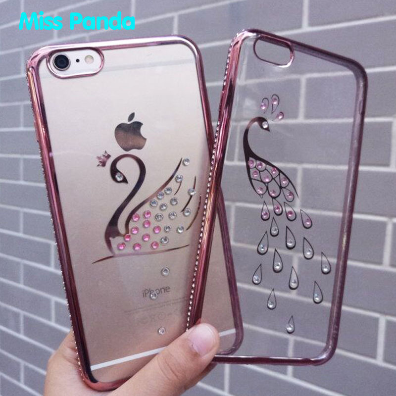 High quality diamond chrome tpu smartphone case cover for <strong>iphone</strong> 6 6s plus 7 7p 8 8p soft cover