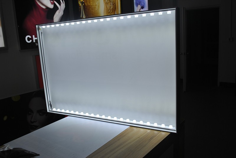 double side frameless tension led fabric stand light box
