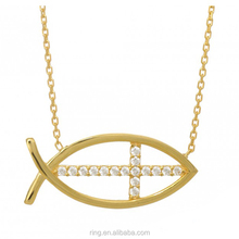 Gold tone cross Jesus fish Pendant Necklace Catholic church Christian of cross fish symbol necklace