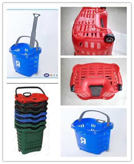 Colourful hand carry plastic supermarket rolling baskets
