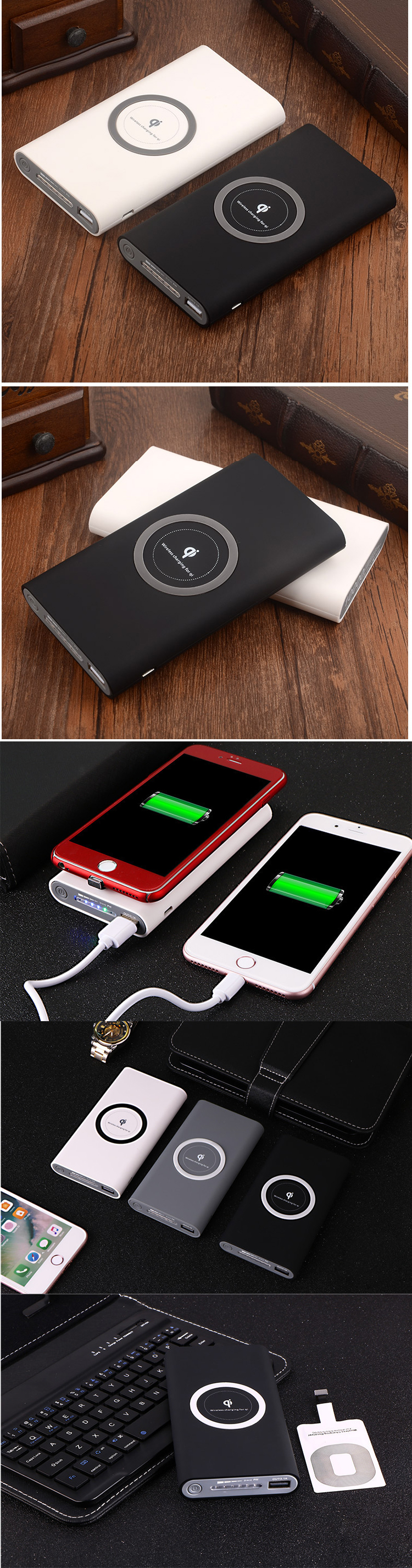 Hot sale mini portable gift 10000mah power bank wireless powerbank for iphone / android wireless power bank qi wireless charger