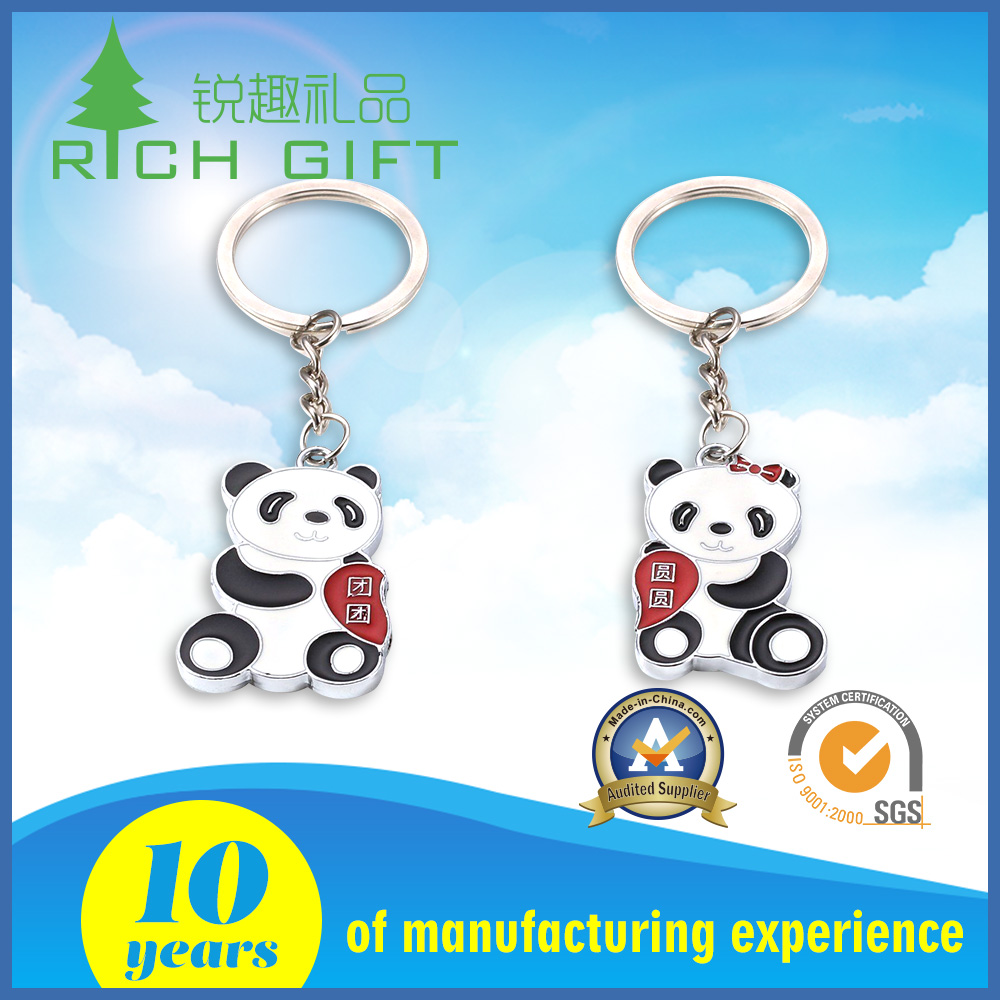 Unique design custom metal cute animal panda pattern couple keychains for chinese new year gift