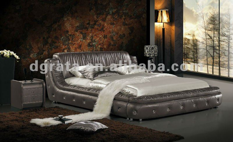 2012 new design french round bed with thin genuine leather and match up with two night stand