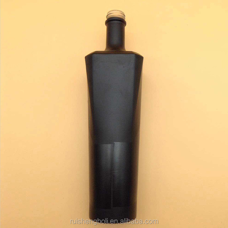 Matte finish colored vodka 750ml black glass bottle