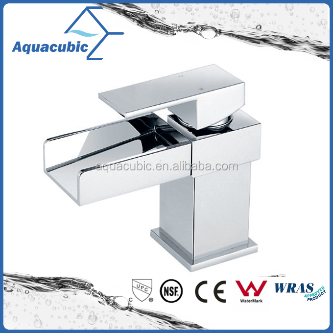 UPC Square Water fall brass bathroom sink faucet