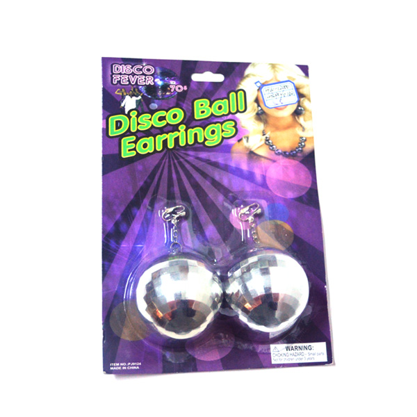 carnival day 70's disco fever sequin plastic ball earrings