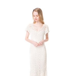 Latest hot selling V neck lace sexy white women long dress
