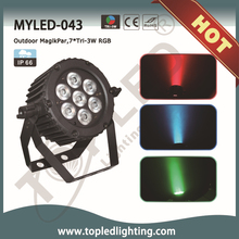 2015 guangzhou new 7*Tri-3W RGB 22W IR Remote outdoor led par light