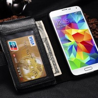 7 card slots super wallet case for Samsung S5 ; bill site inside for Samsung Galaxy S5 case cover