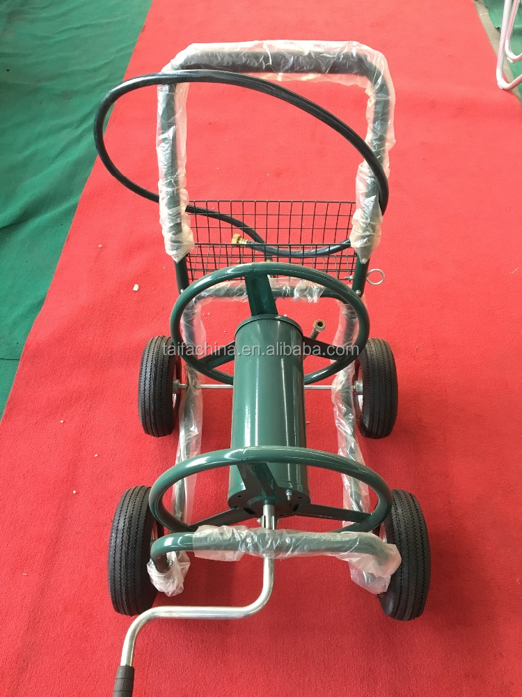 metal four wheel garden hose reel cart