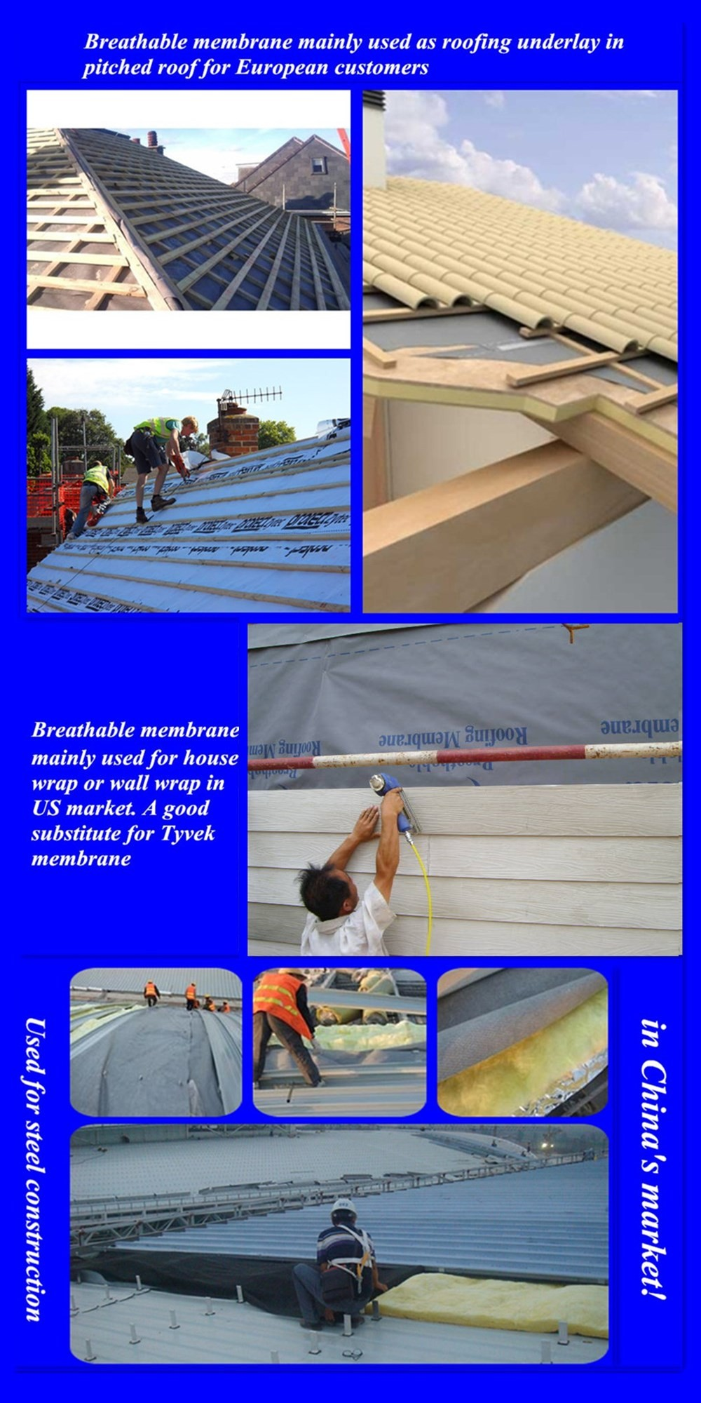 Breathable Membrane for pitched roofing and house wrap