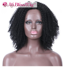 Natural Looking Cheap 18 Inch Heat Resistant Japanese Fiber Hair 1B Black Glueless Synthetic Kinky Curly Wig for Black Women