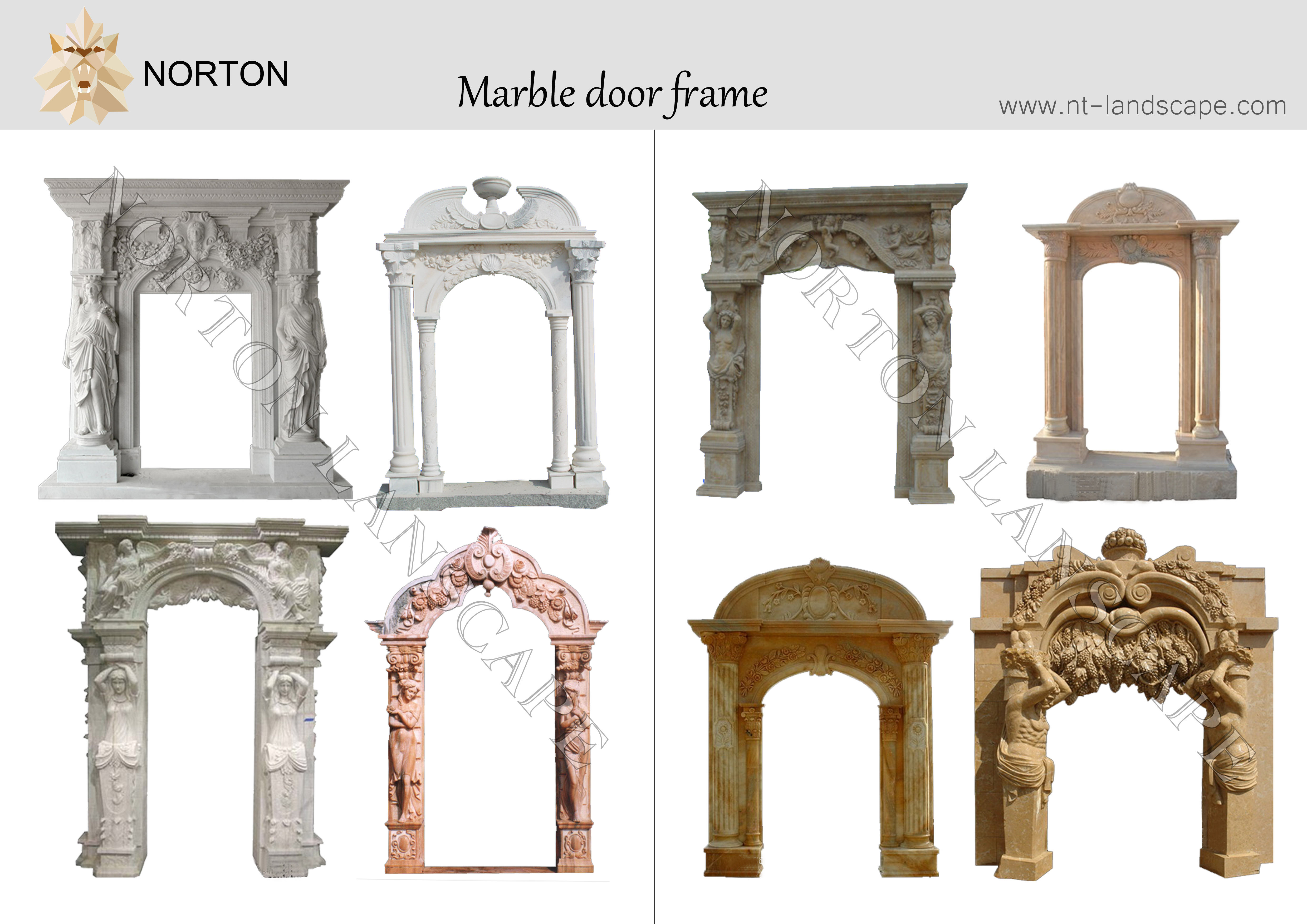 hand carved statues stone outdoor decorative door frame NTMF-D003Y