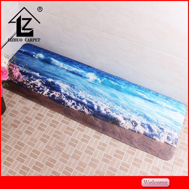best quality plain style beautiful sea pictures printing doormat mini carpet