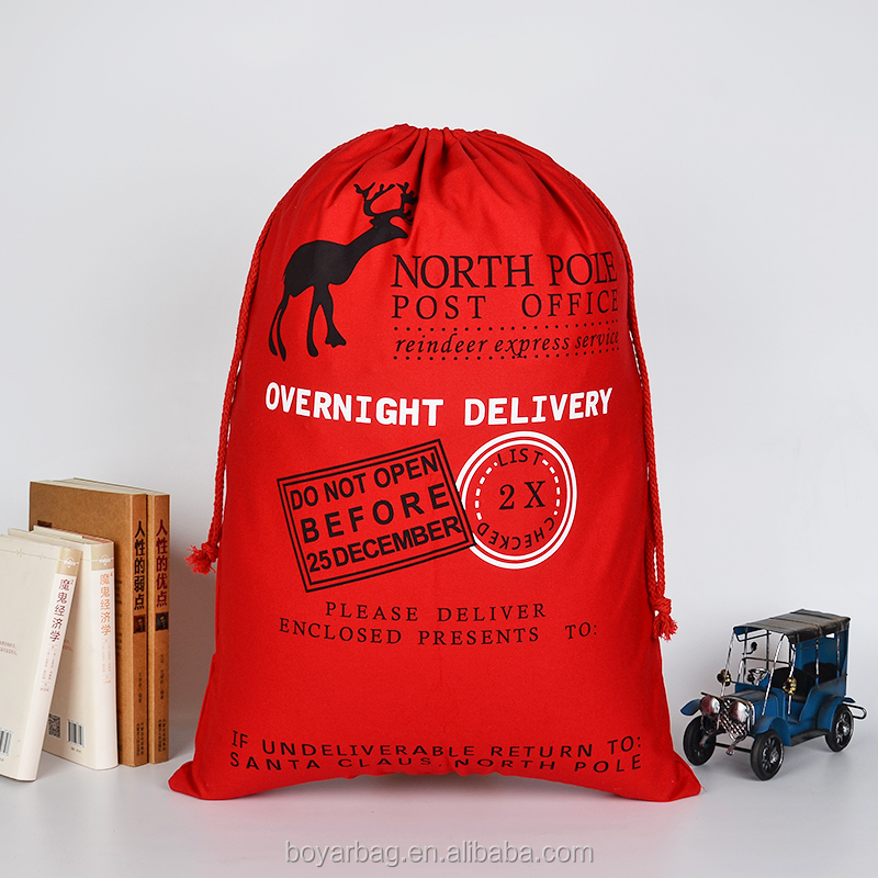 Recyclable hot selling <strong>Christmas</strong> product of red Cotton santa sack.