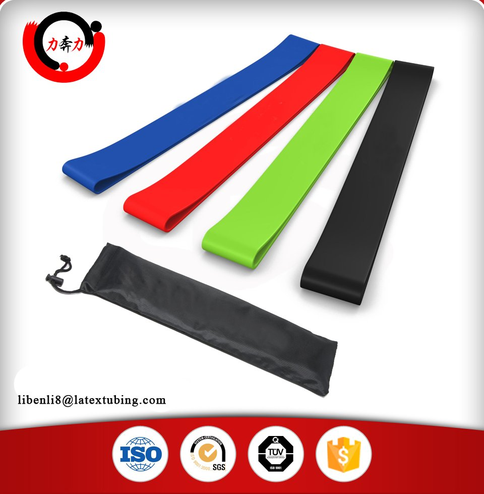 custom logo stretch power fitness loop resistance bands set with carrying bag