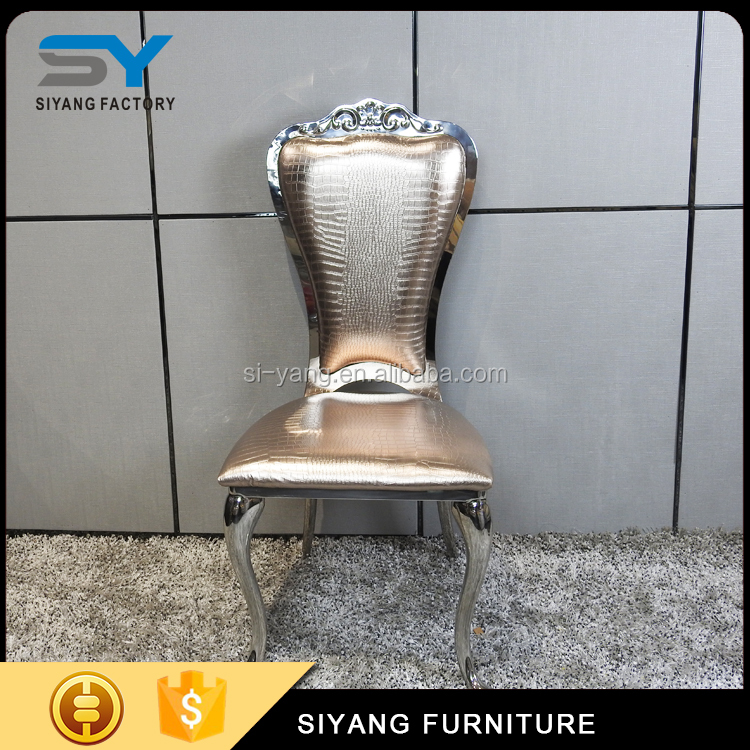 Modern baroque furniture leather chair luxury american style metal dining chair CY024