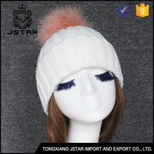 Fashion warm winter girls winter white hats with fur ball on top