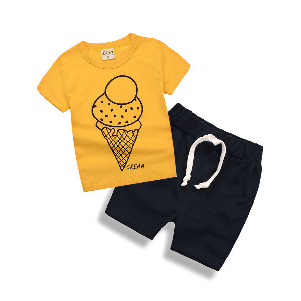 Kids T Shirts + Shorts Pants Set Boys Toddlers Summer Clothing
