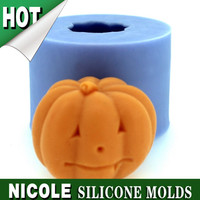 LZ0115 Halloween Pumpkin 3D Candle Mold Silicone Soap Mould
