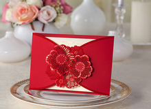 Luxury Red paper new pocket CW063 hollow flowers Wedding Invitation Cards With Laser Cut cover,wedding invatations with ribbon