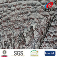 Popular crocodile skin design bronzed ultra suede fabric for bag