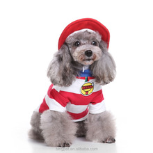 Dog Summer Vest Clothing Pet Red and White Stripe Tshirt with a Hat