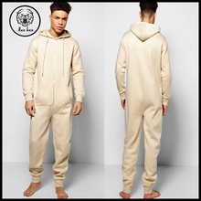 2017 Wholesales adult men clothing cotton plain long hooded onesie