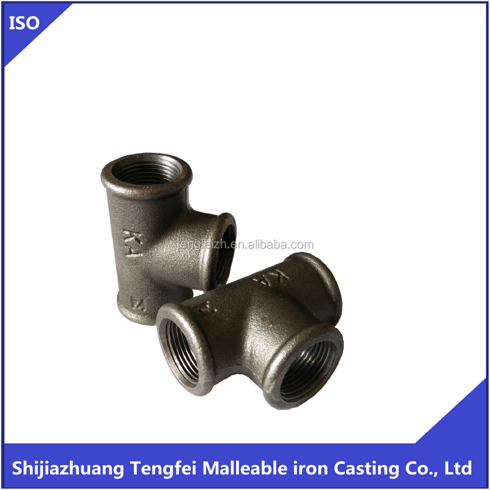 MALLEABLE CAST IRON PIPE FITTING TEE,HOT DIPPED GALVANIZED/BLACK TEE