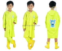 OEM children polyester pu raincoat kids raincoat 100% polyester lightweight waterproof jacket