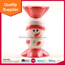 Snowman ceramic candle holder candy shape for home decoration