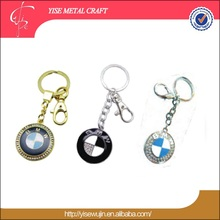 famous logo car key chain gift promotional epoxy dome key ring with crystal top grade rose gold brand car key holder