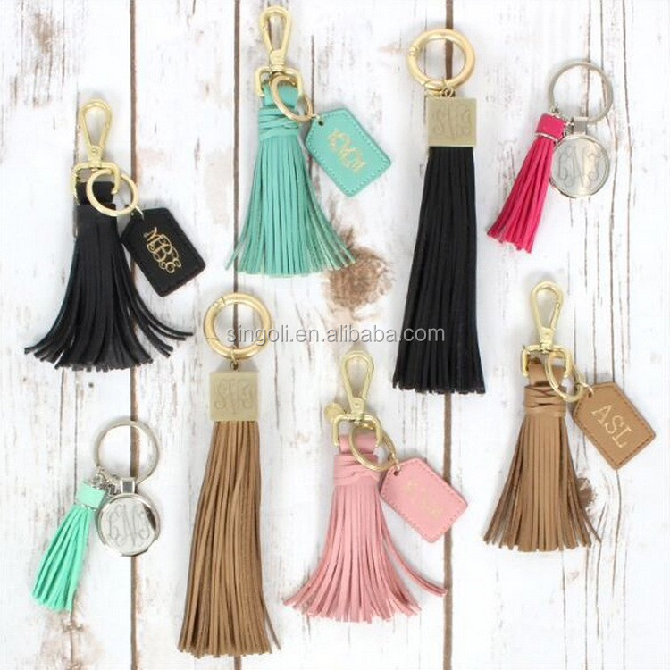 2017 New Arrival Monogrammed Leather Baseball Keychain