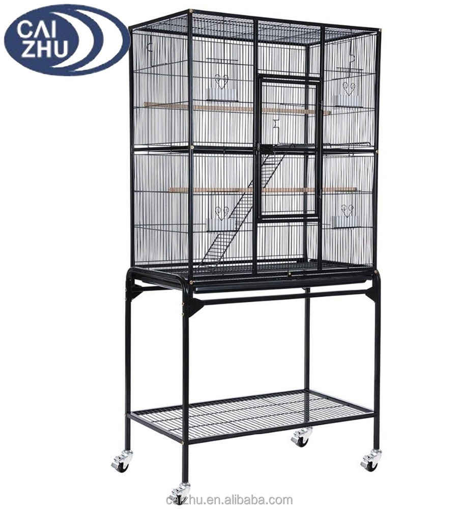 "63"" Inch Indoor Bird Parrot Chinchillas Ferret Cage Cockatiel House w/Stand Metal Wheel"