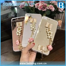 Hottest!!! Mirror Metal Back Cover For iPhone 5 6 6plus 7 7plus, For iPhone 7 Transparent Bumper With Rose Pearl Tassel