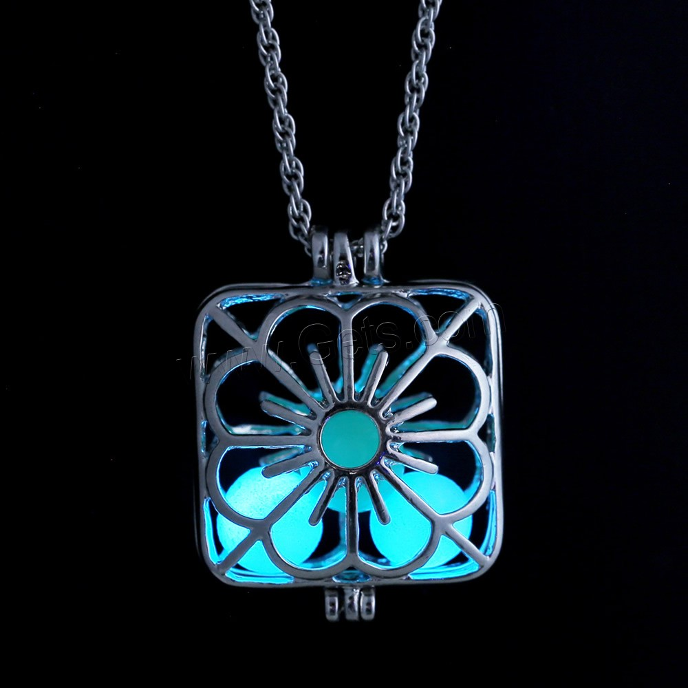 Luminated Necklace, Zinc Alloy, with Fluorescent Powder Stone & iron chain, Square, platinum color plated
