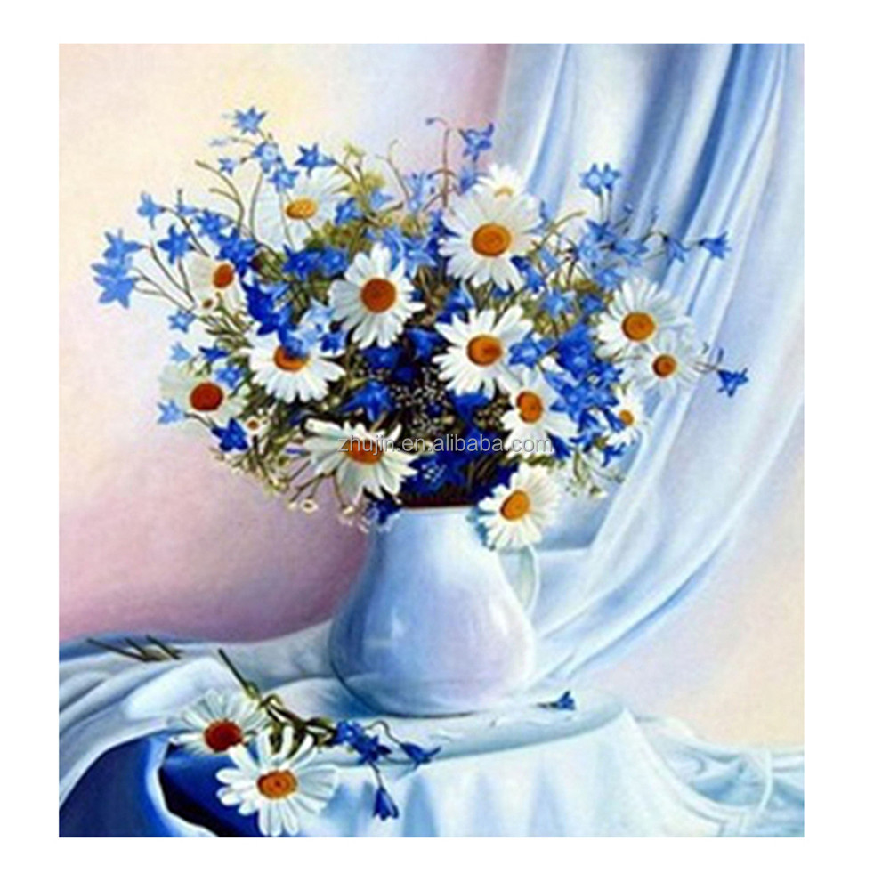 Wholesale Diamond painting reasonable price blue flower Home decor