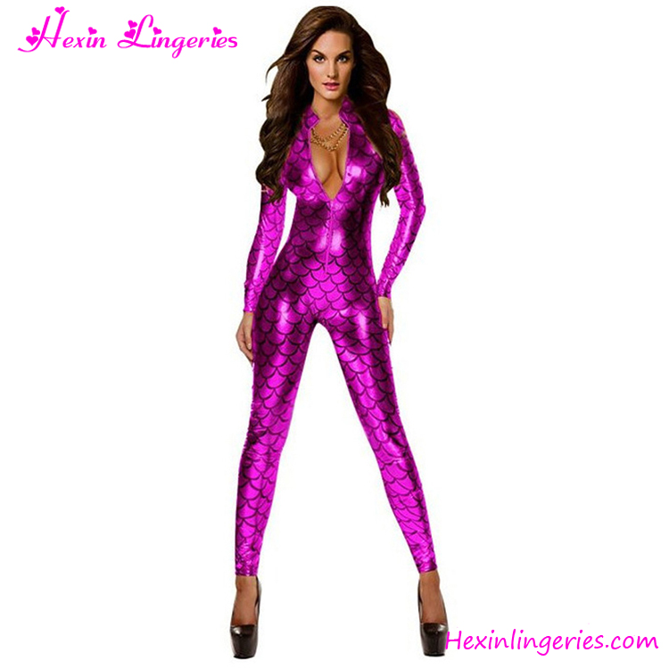 Fashion Rose Red Fish Scale Mermaid Latex Full Body Faux Leather Catsuit
