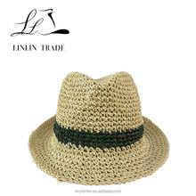 Special design cheap fedora hats custom logo straw hat men