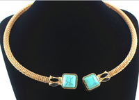 Yiwu Factory Alloy Gold Silver Plated Turquoise Boho Choker Turquois Necklace Wholesale Jewelry