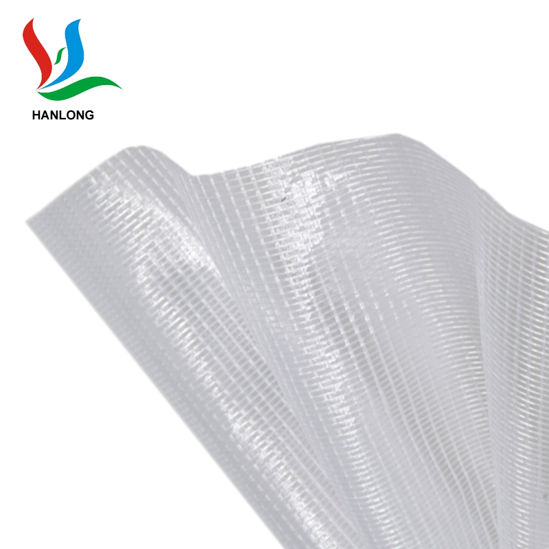 Anti- UV PVC Tarpaulin material transparent pvc mesh fabric for sales