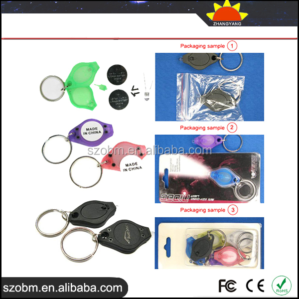 Plastic Promotional Blue Light wholesale price Customized LED Keychain