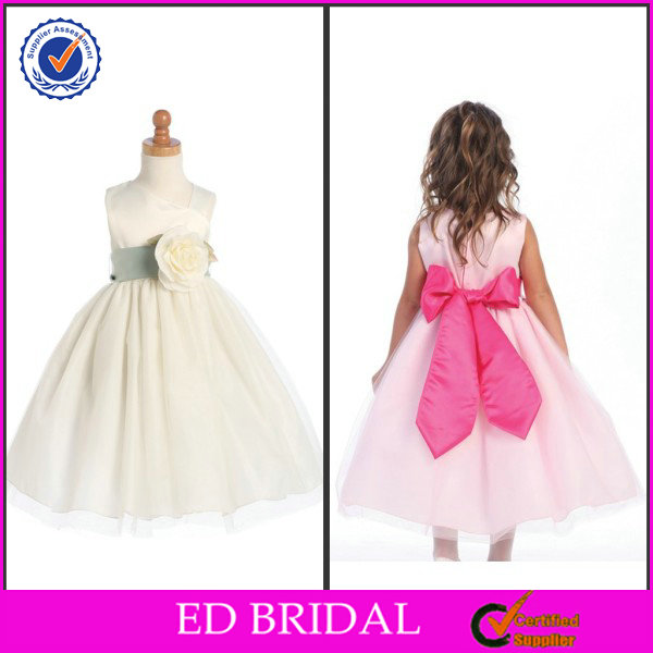 OEM Service Ball Gown Pleated Flower Embellishment Kids Wedding Gowns