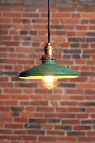 Vintage Industrial pendant lamp with aged metal shade. Lamp is UL listed