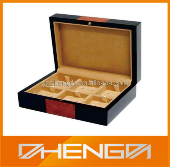 High quality customized made-in-china wooden black cufflink box (ZDS-SE056)