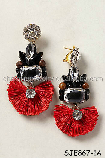 Tejo Fringed Crystal Acrylic Tassel Earrings