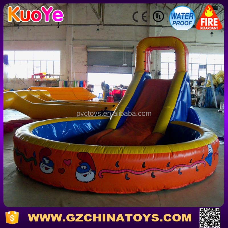 Wholesale commercial garden kids inflatable mini water slide with pool for sale