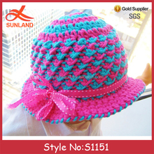 S1151Cute baby girls knitted beanie hats knitting crochet pattern