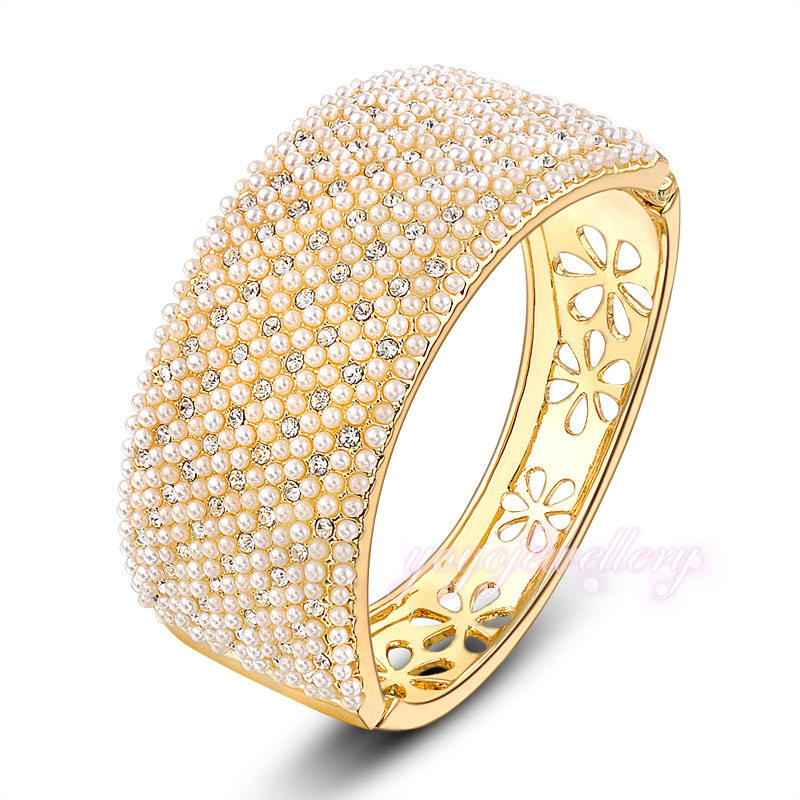 womens jewellery 18k yellow gold plated pearl bangle